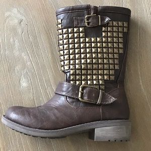 Studded Brown Moto Boot With Gold Buckles